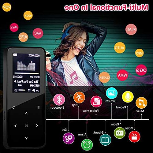 MP3 Player with Bluetooth,8GB in Speaker,Voice Recorder,Video Play,Photo Viewer,E-Book,Touch Button up 32GB