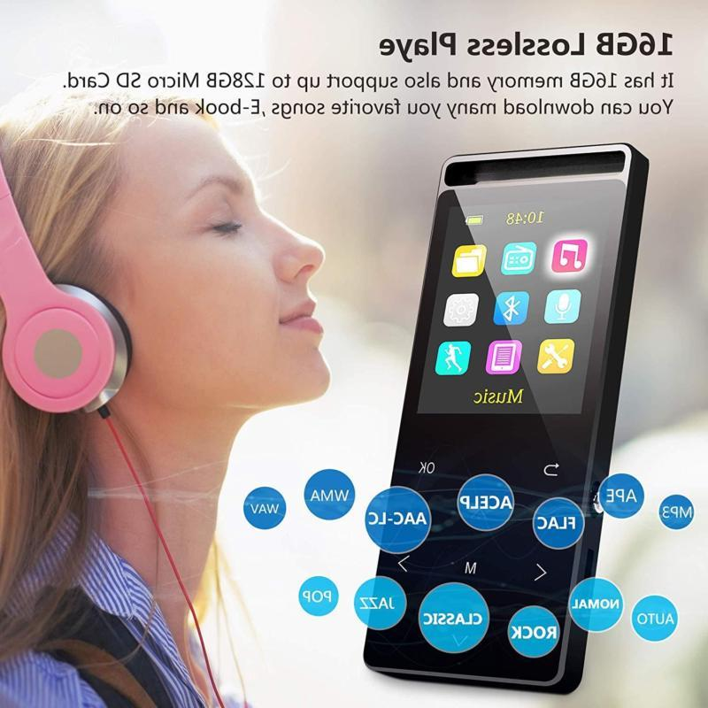 Grtdhx MP3 Player,MP3 with Bluetooth,16GB with Radio/Voic