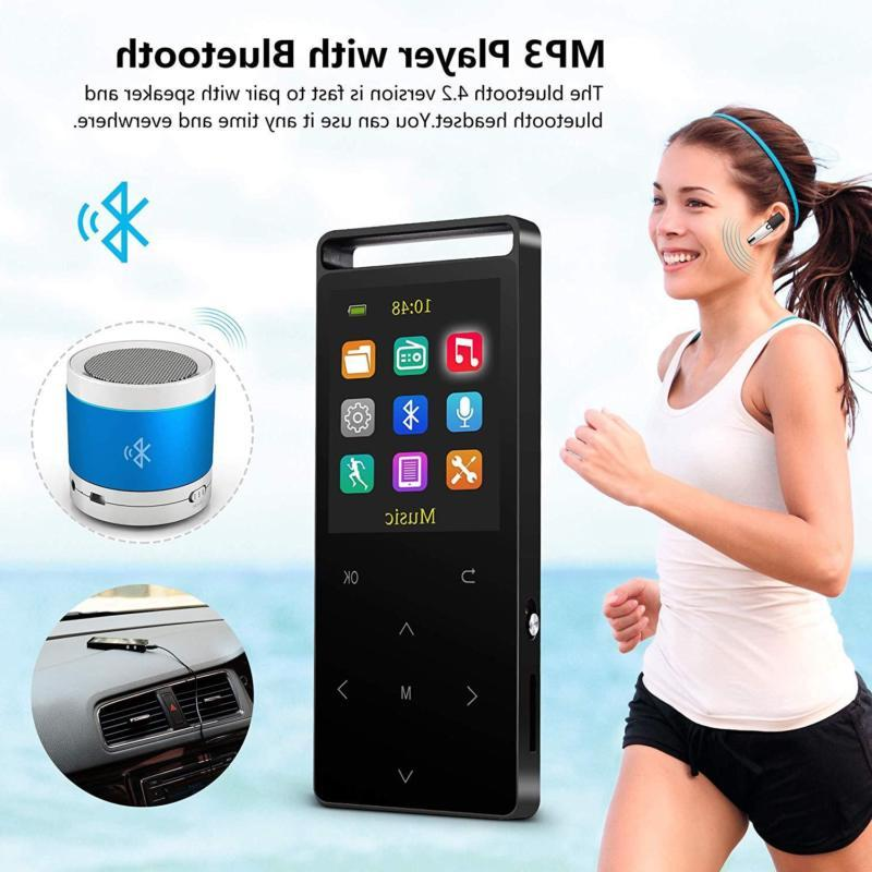 Grtdhx with Bluetooth,16GB Music Player with Radio/Voic