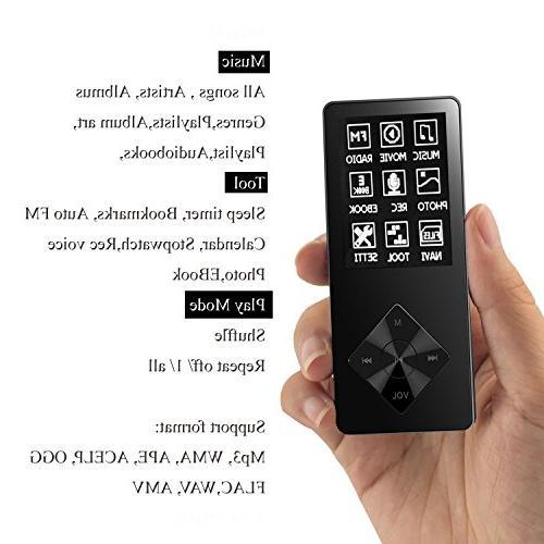 MP3 Music Player 16GB Memory card Slim Digital 1.82'' Radio,
