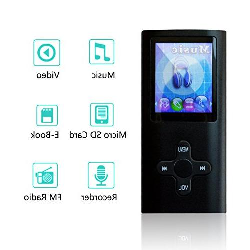 Lonve MP3 Player MP4 Player Media Music Player with Radio Voice Recorder Supporting MP3 WMA WAV for Kids Sports Black