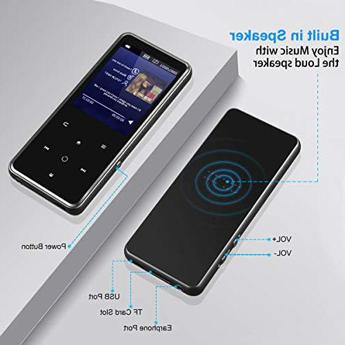 MP3 Player 2.4'' Large Player Speaker,Touch Buttons,HiFi Lossless Sound Come with Headphone