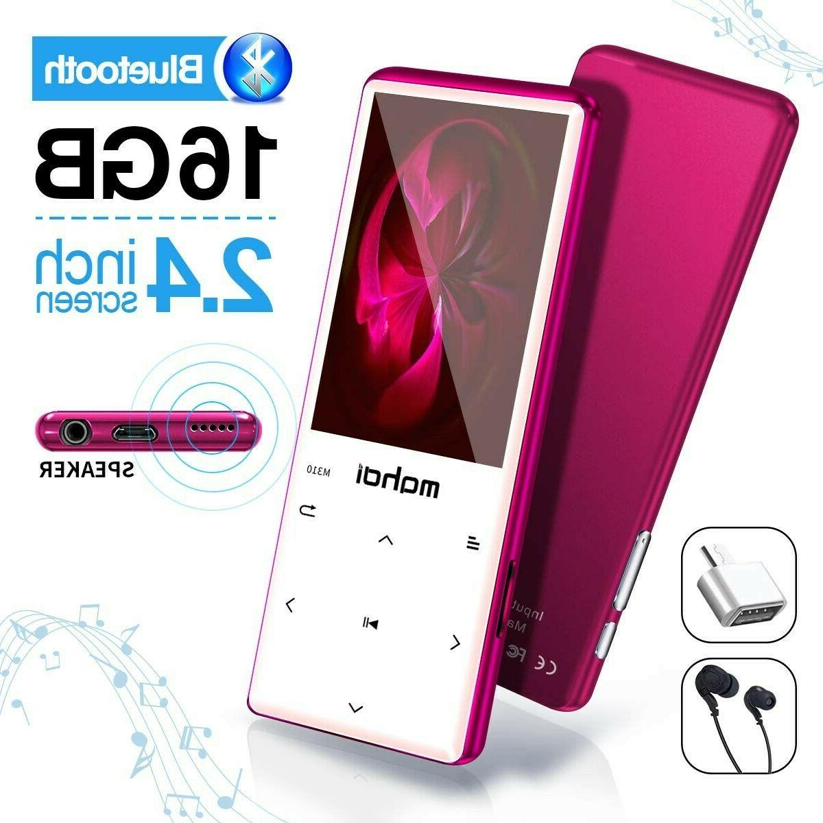 MYMAHDI MP3 Player PINK Bluetooth 4.2, Touch Buttons with 2.