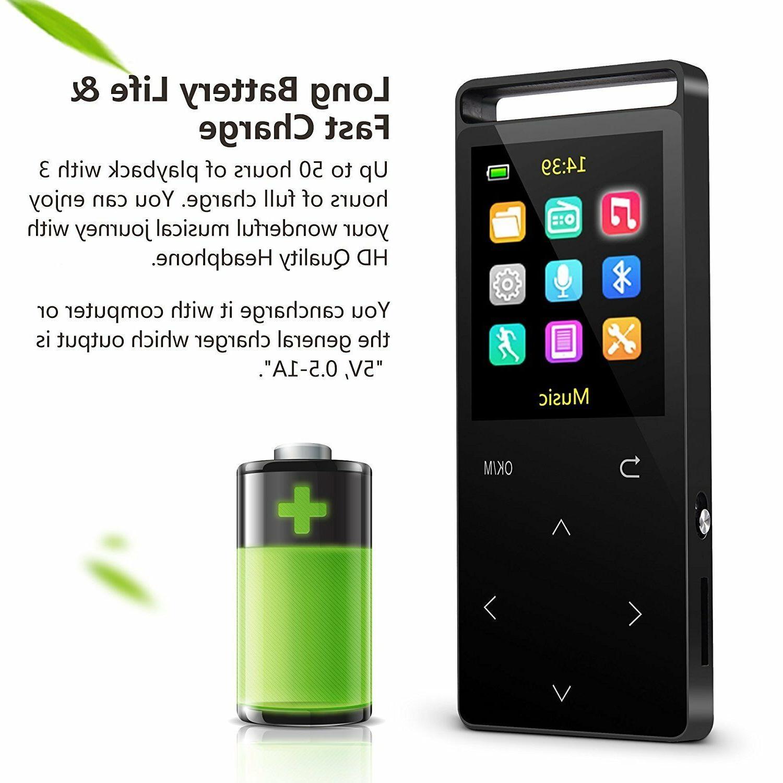 MP3 Bluetooth,16GB Music player with FM Radio/Voice Recorder,HIFI
