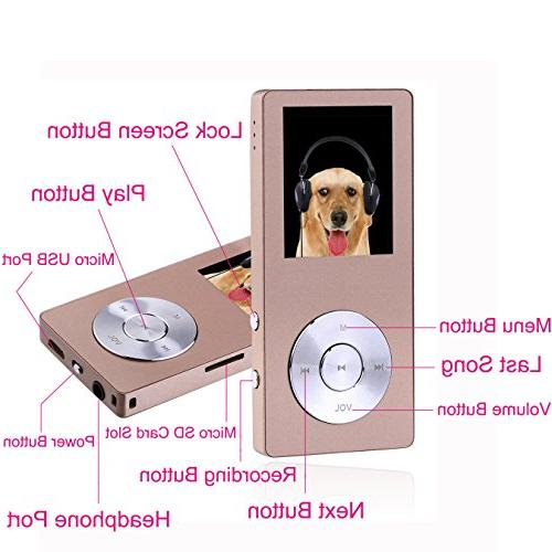 FecPecu Player, Metal MP3 Player Updated Version 20 Hours Hi-Fi Sound, Audio Player Expandable Up to
