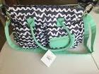 Oh Joy Diaper Bag Navy/white Chevron With Turquoise Brand Ne