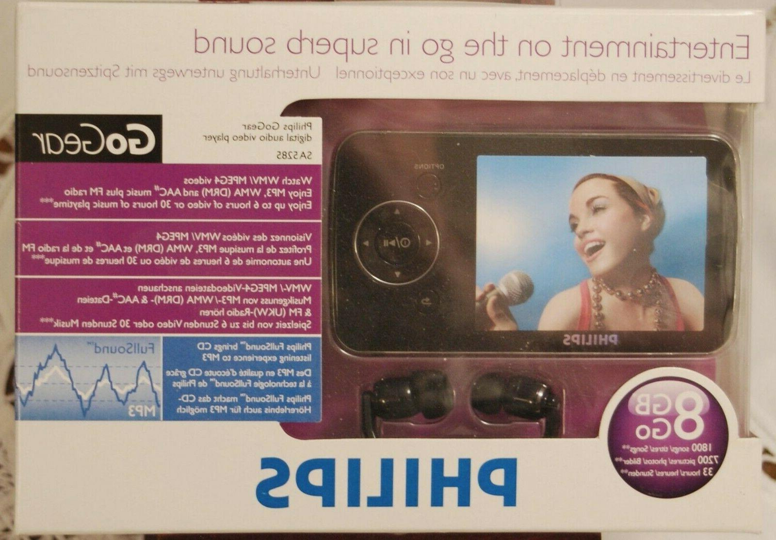 philips gogear 8gb black video player new