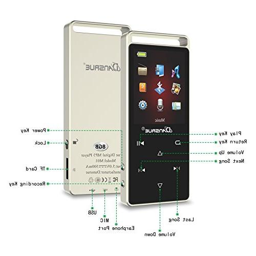 8GB Player With Radio/Video/Voice Recorder, Portable Lossless Player with Up to 128GB Micro SD