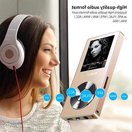 MYMAHDI 8GB Player, Music Player/One-Key Recorder/FM Playback with External HD Headphone, Gold