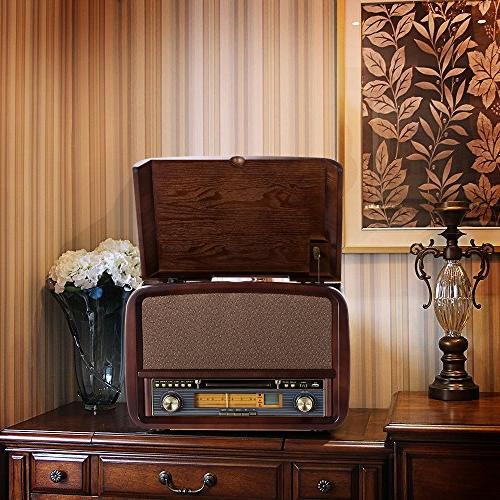 RCM Retro Lp Wooden 6-in-1 3 Connection Your Device, USB 10 Watts Speakers