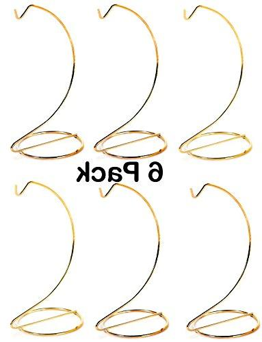 10 Inch Tall Gold Wire Ornament Display Hanger Stands - Pack