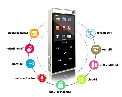 Eleston 8GB Screen MP3 Player, Lossless Metal 64GB TF Viewer