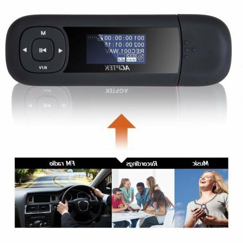 AGPTEK Stick MP3 Player Battery FM Radio