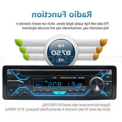 Car Stereo MP3 Bluetooth USB TF FM In-dash Handsfree MIc