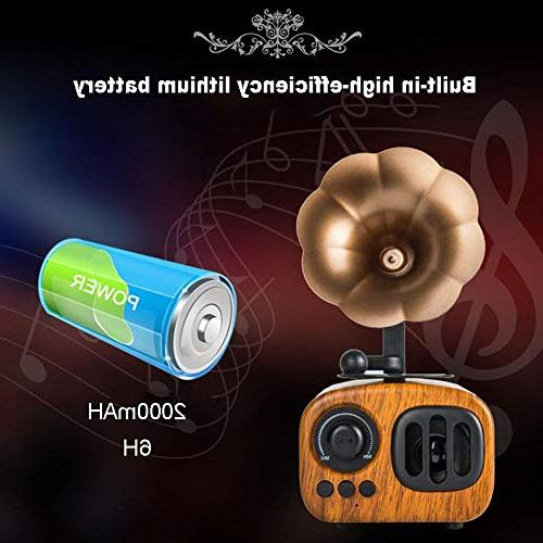 Eachbid Vintage Mini Wireless Speaker 3D Surround HiFi Player,Pear Color