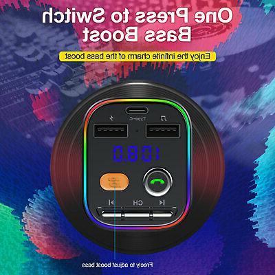 Wireless Bluetooth 5.0 FM Transmitter Car USB Adapter MP3 Player