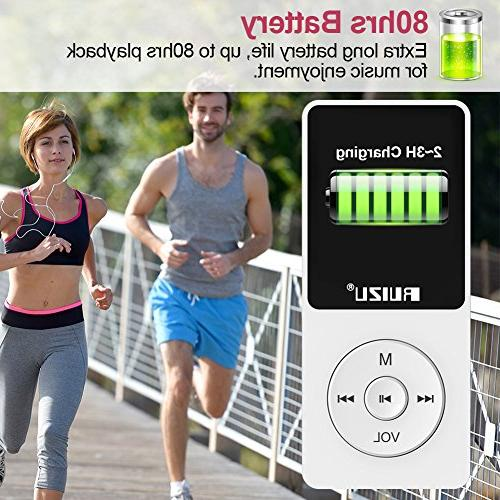Mp3 Player, RUIZU X02 Ultra Slim Music with FM Radio, Reading, 80 and Expandable 128