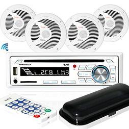 Marine Stereo Receiver Speaker Kit - in-Dash LCD Digital Con