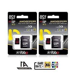 addlink 2PACK MicroSDXC 128GB U3 V30 A1 Memory Card with Ada