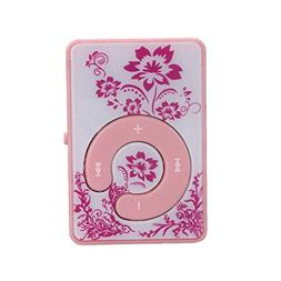 DATEWORK Mini Clip Flower Pattern MP3 Player Support Micro S