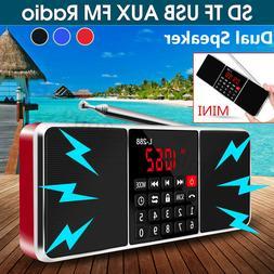 Mini Portable FM Radio Stereo MP3 Player USB AUX Disk Micro