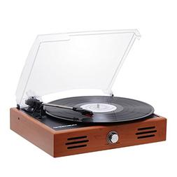 Musitrend Mini Stereo Turntable 3 Speed Record Player with B