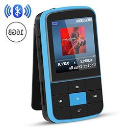 AGPTEK 16GB MP3 Player with Bluetooth 4.0, Wearable Clip Sup
