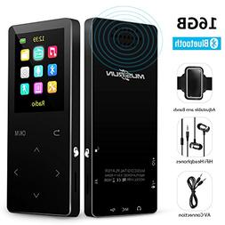 MP3 Player with Bluetooth, 16GB music player with FM radio/r