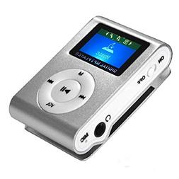 MP3 with LCD Clip MP3 Flash Memory Music Player - Silver