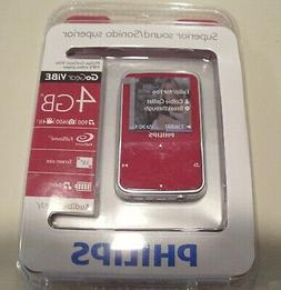 New sealed Philips GOGEAR VIBE MP3 Player 4 GB - Red, Audibl