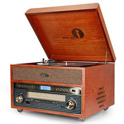 1byone Nostalgic Wooden Turntable Bluetooth Vinyl Record Pla