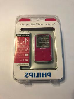 PHILIPS GoGear ViBe 4gb Pink Fuschia MP3 video player New Se