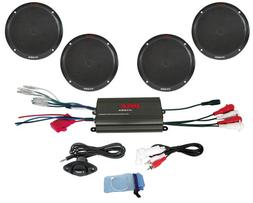 Pyle Marine Receiver Speaker Kit - 4-Channel Amplifier w/ 6.