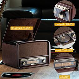 RCM Retro Lp Wooden 6-in-1 Music Centre with 3 Speed Turntab