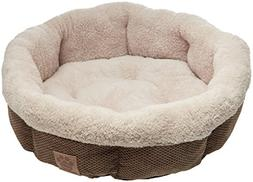 Precision Pet Shearling Round Bed, 21-Inch, Coffee Liqueur C