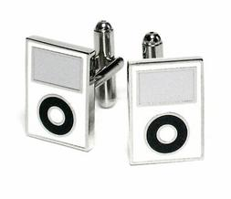 Silver-Tone Mens Cuff Links White MP3 Player Cufflinks