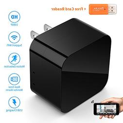 USB Charger Camera, AQQEF 1080P HD Nanny Cam with WiFi Remot