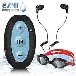 AGPTEK 8GB Waterproof MP3 Player with Shuffle, IPX8 Underwat