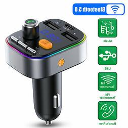 Wireless Bluetooth 5.0 FM Transmitter Car USB Charger Adapte
